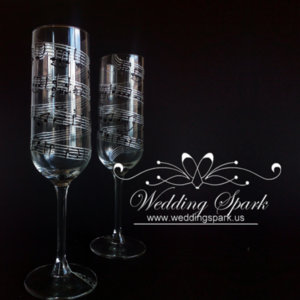 Music notes wedding flutes