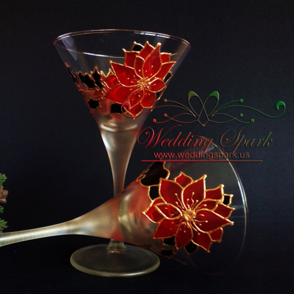 Winter Poinsettia martini glasses