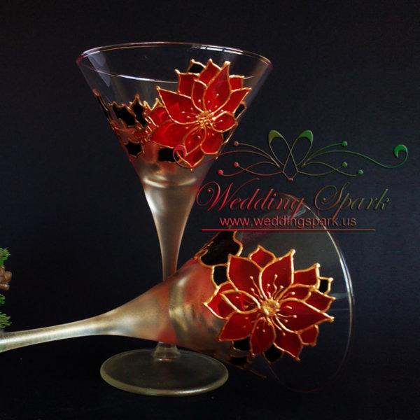 Winter Poinsettia martini glasses