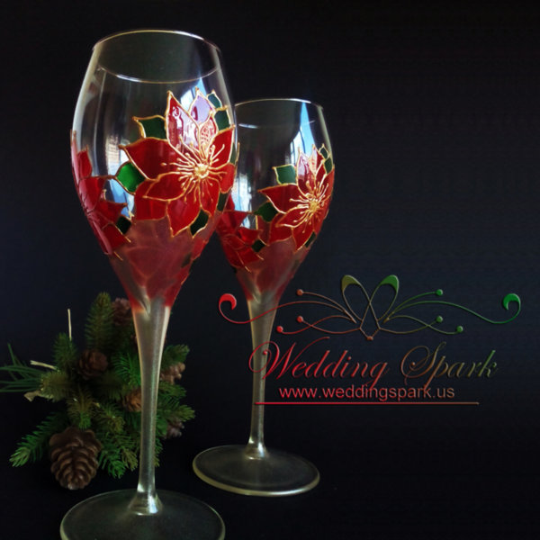 Winter Poinsettia champagne / wine glasses