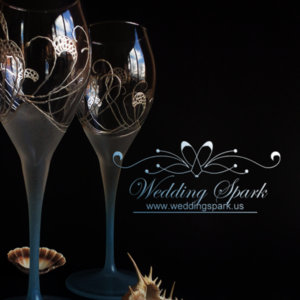 Sea waves Wedding champagne wine glasses in white and blue beach wedding-Copy