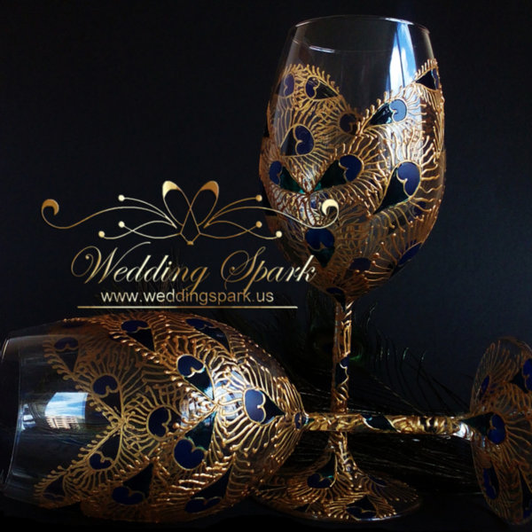 Peacock feathers wine glasses