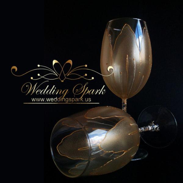 Golden tulip wine glasses