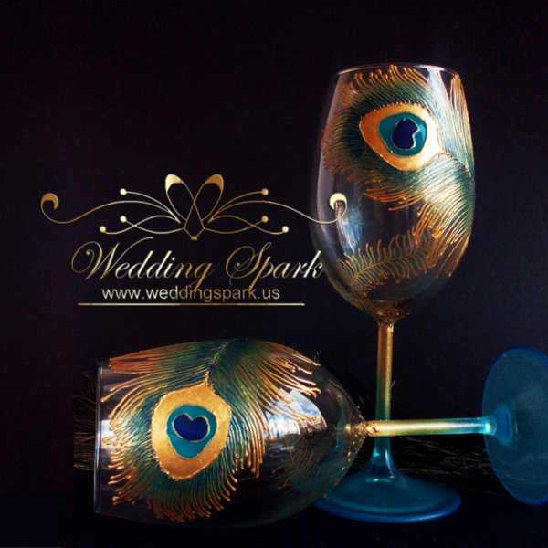 Peacock feather wine glasses gold and blue