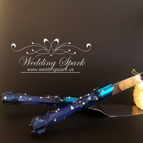 Galaxy constellations Cake serving set in silver and blue