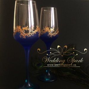 Gatsby wedding flutes blue gold wedding theme