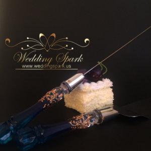 Gatsby Cake serving set gold blue wedding theme