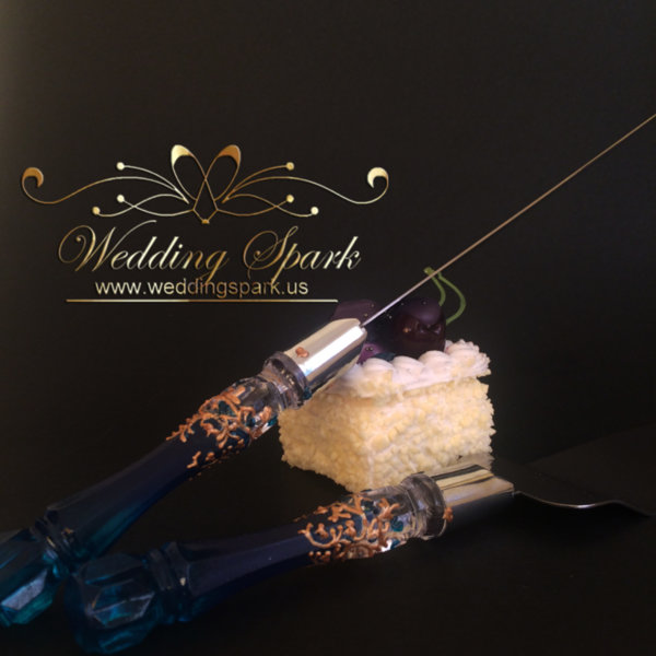 Gatsby Cake serving set gold blue wedding theme