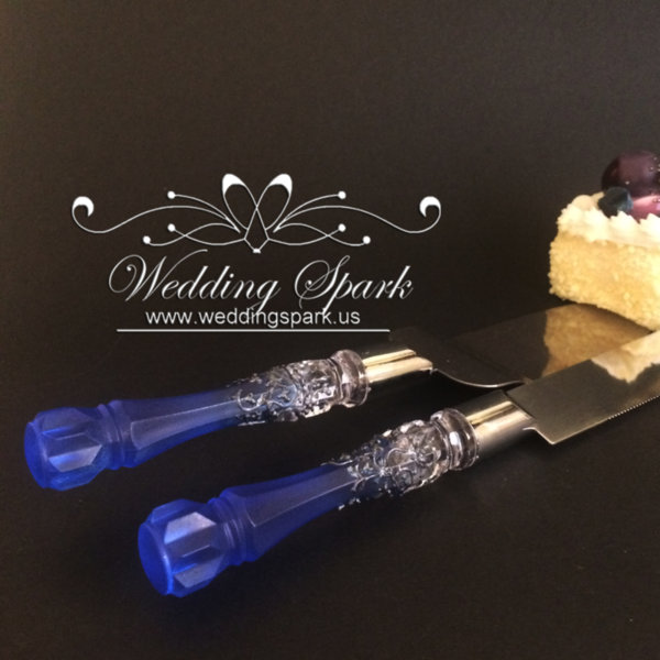 Gatsby Cake serving set silver blue wedding theme