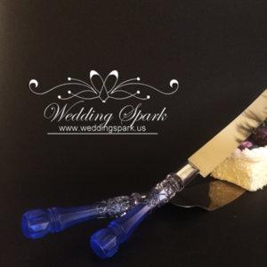 Gatsby Cake serving set silver blue wedding theme