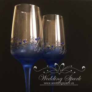 Gatsby wedding flutes blue silver wedding theme