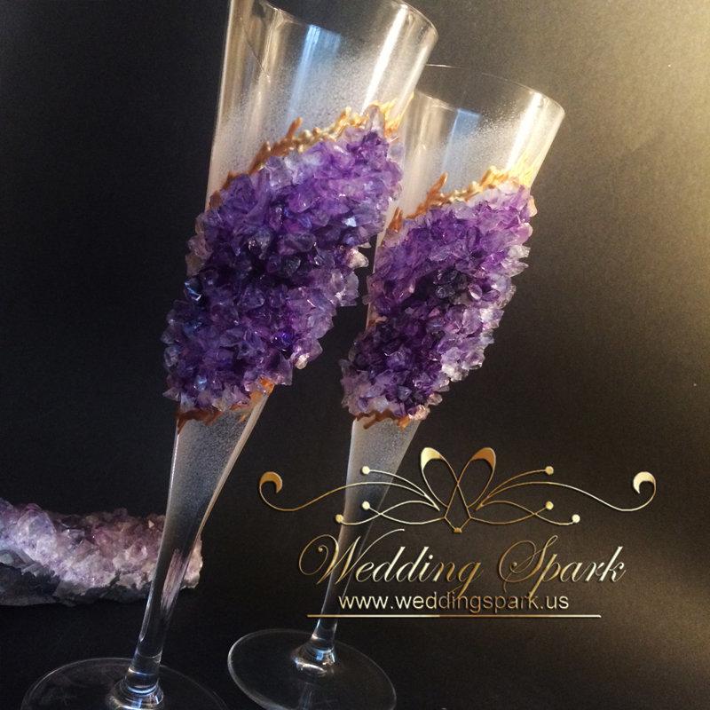 Amethyst Geode Wedding Flutes