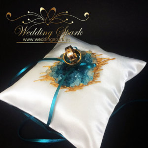 Turquoise geode ring pillow