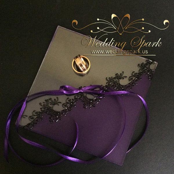 Gatsby purple wedding ring pillow