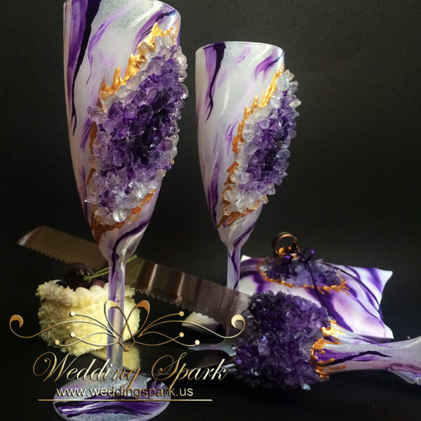 20% Off Amethyst geode marble cake serving set, toasting champagne flutes and ring pillow
