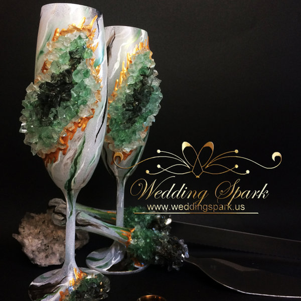 10%Off Green geode marble cake serving set and toasting champagne flutes