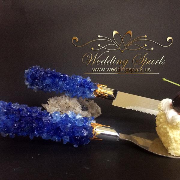 Blue geode cake serving set