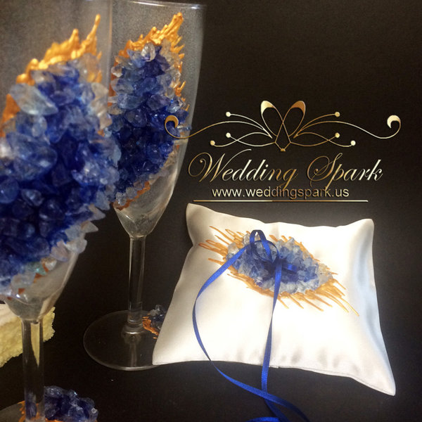 10% off Blue geode Wedding flutes and a ring pillow