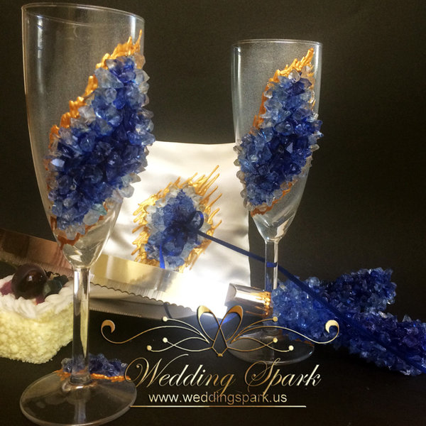 20% off Blue geode Wedding flutes, cake serving set and ring pillow