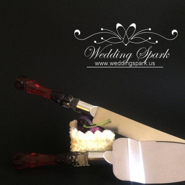 Gatsby Cake serving set Red black wedding theme