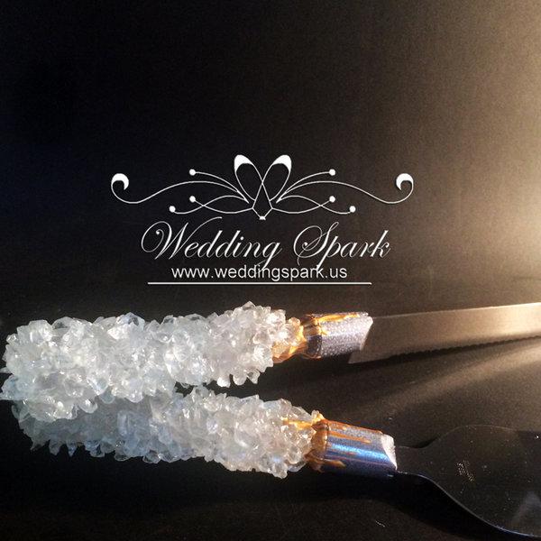 White geode cake serving set