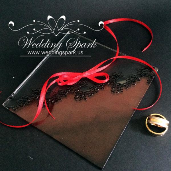 Gatsby red wedding ring pillow
