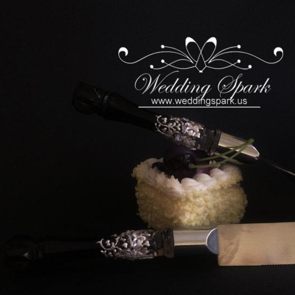 Gatsby Cake serving set white black wedding theme