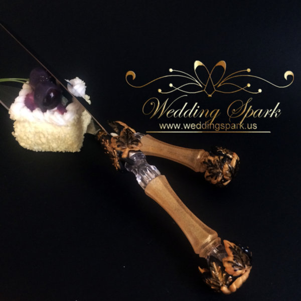 Maple leaves Cake serving set gold black wedding theme