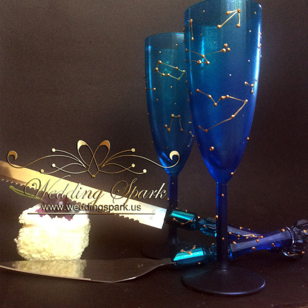 10%off Constellations galaxy wedding set flutes and cake serving set in gold and blue