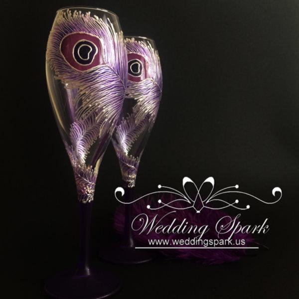 Purple peacock feather wedding flutes