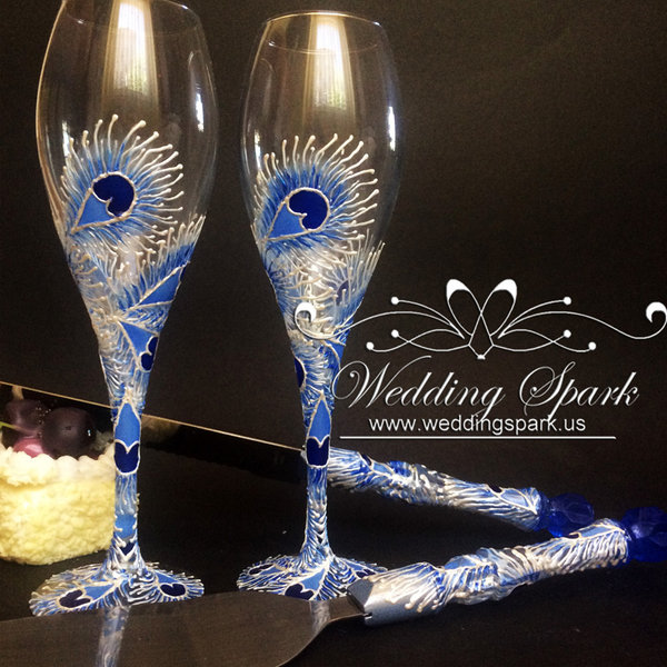 10%off Peacock feathers white blue wedding flutes and cake serving set