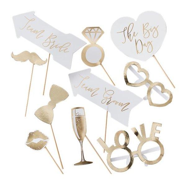 Златни сватбени селфи стикове