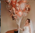 Балони розово злато с конфети микс - Големи