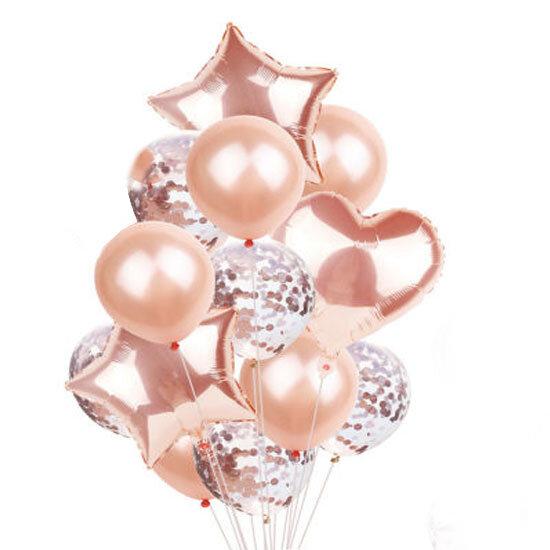 Балони розово злато с конфети микс - 14 броя