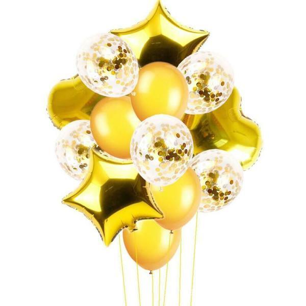 """Големи Балони """"Звезди и Сърца"""" Злато /14 броя/"""