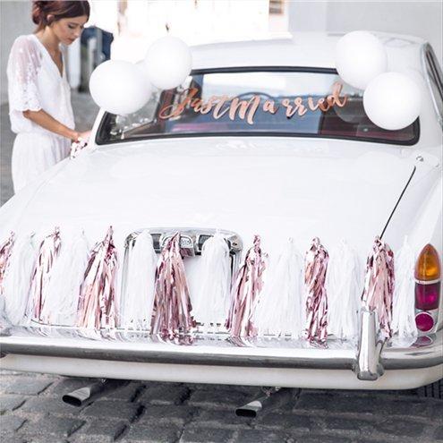 Украса за сватбена кола в розово злато