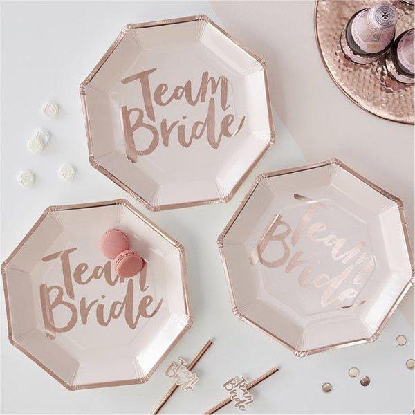 """Парти чинии """"Team Bride"""" /8 броя в опаковка/"""