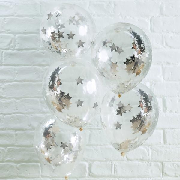 Латексови балони със сребърни конфети звезди Silver Star - 5 броя