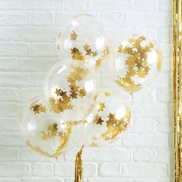 Латексови балони със златни конфети звезди Gold Star - 5 броя