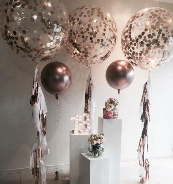 90 СМ Балони с конфети в розово злато - балони WOW ефект - 3 броя-
