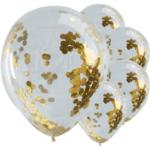 Латексови Балони със златни конфети - 5 броя