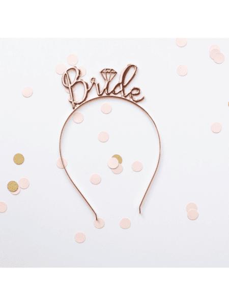 Луксозна метална диадема с надпис BRIDE