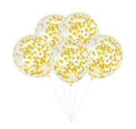Балони със златни конфети - 5 броя