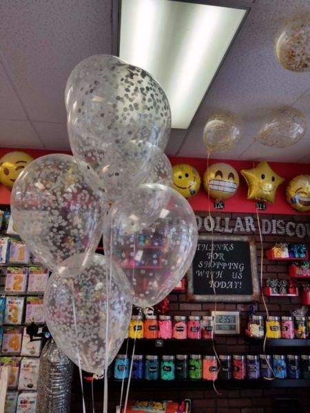 Балони със сребърни конфети - 6 броя