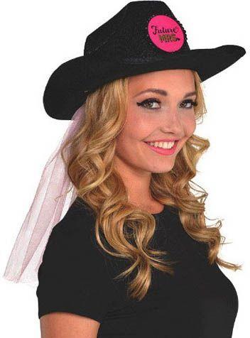 Каубойска шапка с воал за Моминско Парти