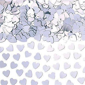 Сребърни искрящи сърца Метални конфети - 14гр