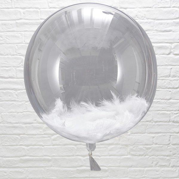 Прозрачен балон с бели пера - 3 броя