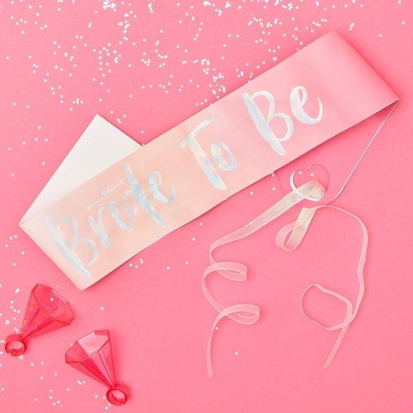 """Лентa за моминско парти """"BRIDE TO BE""""- розово омбре"""
