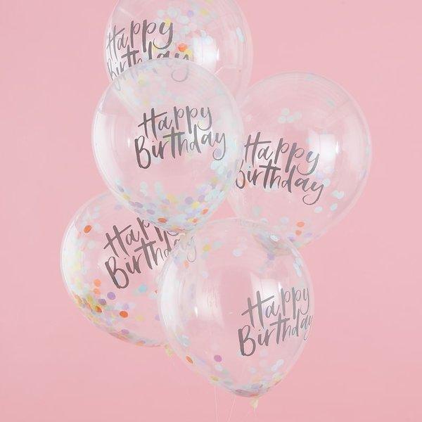 Балони с цветни конфети и надпис Happy Birtday