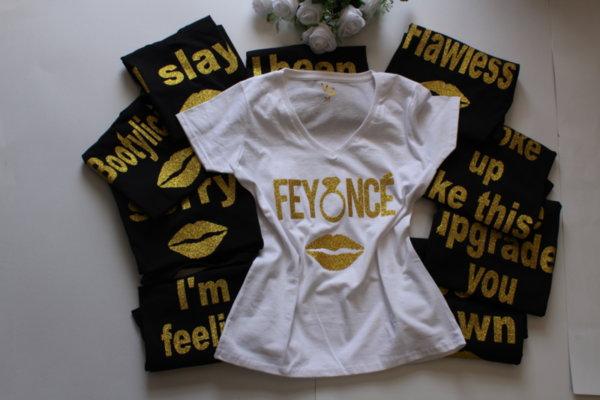 Тениски за моминско парти Feyonce със златно  glitter
